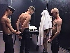 Two slaves set up for abuse in gay BDSM