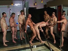 A slutty back-talker gets used and abused in front of a crowd at Steamworks bathhouse.