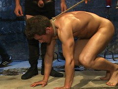 A hot straight stud and his first cock!